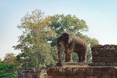 Elephant statue in Eastern Mebon temple, Cambodia Royalty Free Stock Photos