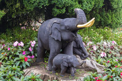 Elephant statue on the garden Stock Photo