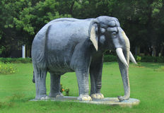 Elephant statue on greenfield Stock Photos