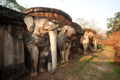 Elephant statue at pagoda in ancient temple . Royalty Free Stock Images