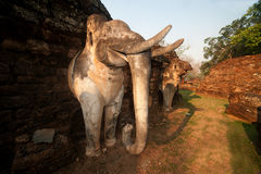 Elephant statue at pagoda in ancient temple . Royalty Free Stock Photos