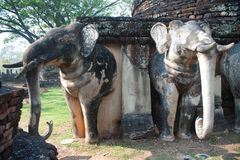 Elephant statue at pagoda in ancient temple . Stock Images