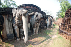 Elephant statue at pagoda in ancient temple . Stock Photography