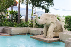 Elephant statue spout ing water Stock Image