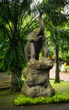 Elephant statue standing on rock in front of palm tree photo taken in Ragunan zoo Jakarta Indonesia Stock Image