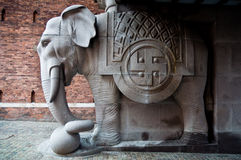 Elephant statue with swastika Stock Photography