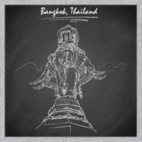 Elephant statue travel sketch on a blackboard BG. Statue of Elephant in Bangkok. Sketch imitating chalk drawing on a blackboard. Sketch is isolated on a separate royalty free stock photos