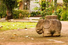 Elephant Statue in a tropical garden Royalty Free Stock Photos