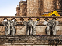 Elephant statue of Wat Chedi Luan(Temple) in Chiang Mai, Thailand. popular tourist destination. Stock Photos