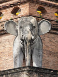 Elephant Statue at Wat Chedi Luang Stock Images