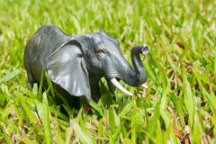 Elephant statues on the grass Royalty Free Stock Photo