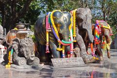 Elephant statues. Group of elephant statues decorated Royalty Free Stock Image