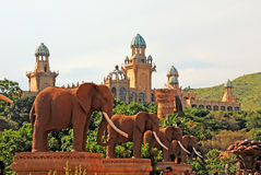 Elephant Statues On Bridge Of Time In Sun City, South Africa. Royalty Free Stock Images
