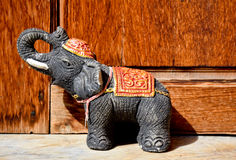 Elephant statues for push the door , Uttaradit, Thailand, Stock Photography