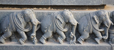 Elephant statues on the walls of Hindu temple Stock Images