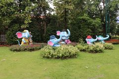 ELEPHANT STATUTES IN CHIANG RAI, THAILAND stock photos