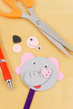 Elephant Stick Puppet Figure. With Scissors And Spare Pieces stock photography