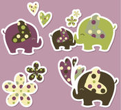 Elephant stickers. Cute elephant sticker design with hearts and flowers Royalty Free Stock Photo