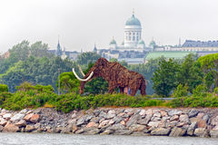Elephant Straw in Helsinki. HELSINKI, FINLAND - June 23, 2013 Decorative item made of straw and peat in the form of mammoth or elephant in Sompasaari, Helsinki royalty free stock photography