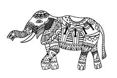 Elephant. The stylized figure of an elephant in the festive patterns Royalty Free Stock Photos