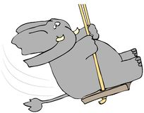 Elephant On A Swing Royalty Free Stock Images