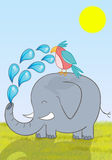 Elephant takes care of a bird during a sunny day Royalty Free Stock Images