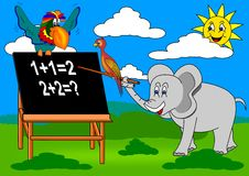 Elephant teacher. Elaphant bird parrot sun animal nature school children Royalty Free Stock Photos