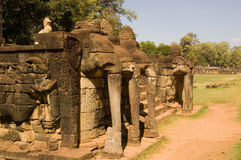 Elephant Terrace, Angkor Thom, Cambodia. Ancient stone terrace designed to watch parades of elephants.  Ancient Khmer city of Angkor Thom, near Siem Reap Stock Image