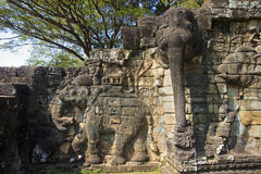 Elephant Terrace in Angkor Thom Stock Image