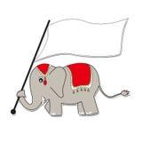 Elephant  hold White Flag. Thai Elephant hold White Flag on Festival Time Stock Images