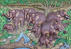 Elephant Thai stucco stock photos