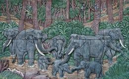 Elephant Thai stucco stock images