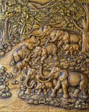 Elephant Thai stucco on the temple wall royalty free stock photos