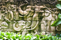 Elephant Thai stucco on the temple wall Royalty Free Stock Photo