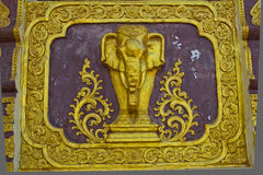 Elephant in Thai style. Elephant in traditional Thai style molding art Stock Photos