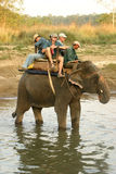 Elephant with tourists in Nepal Royalty Free Stock Photos