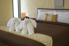 Elephant towel decoration in resort bedroom. Royalty Free Stock Images