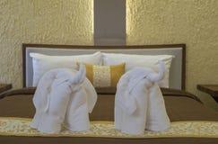 Elephant towel decoration in resort bedroom. Royalty Free Stock Photos