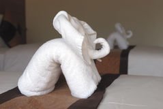 Elephant from towels Stock Photos