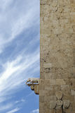 Elephant Tower. The profile of the tower, showing the small marble sculpture that gives the name to one of the medieval landmarks of Cagliari, entrance to the Royalty Free Stock Photography