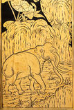 Elephant in traditional Thai style painting Stock Images
