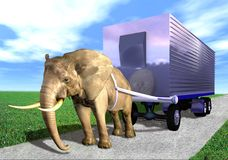Elephant trailer. An illustration of an elephant pulling a trailer along the road Stock Photo