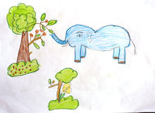 Elephant and trees with crayon drawings. Stock Photos