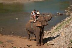 Elephant trekking. Pai jungle, Thailand - FEBRUARY 08: Trekking on February 08, 2011 in Pai Thailand. Tourists on elephant trekking in an elephant camp in Stock Image