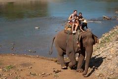 Elephant trekking. Pai jungle, Thailand - FEBRUARY 08: Trekking on February 08, 2011 in Pai Thailand. Tourists on elephant trekking in an elephant camp in Royalty Free Stock Photography