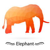 Elephant with triangles of different colors. Raster Stock Photo