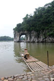 The Elephant Trunk Hill and bamboo raft in the GUILIN Royalty Free Stock Images