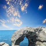 Elephant trunk rock at the north coast of Taiwan, Shenao, New Ta Royalty Free Stock Photo