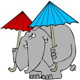 Elephant with 2 umbrellas. This illustration depicts an elephant using 2 umbrellas to keep from getting wet Royalty Free Stock Photos