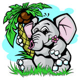 Elephant under palm tree vector illustration Stock Image